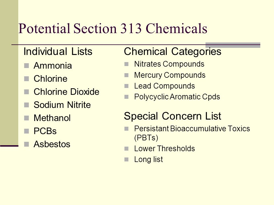 Potential Section 313 Chemicals