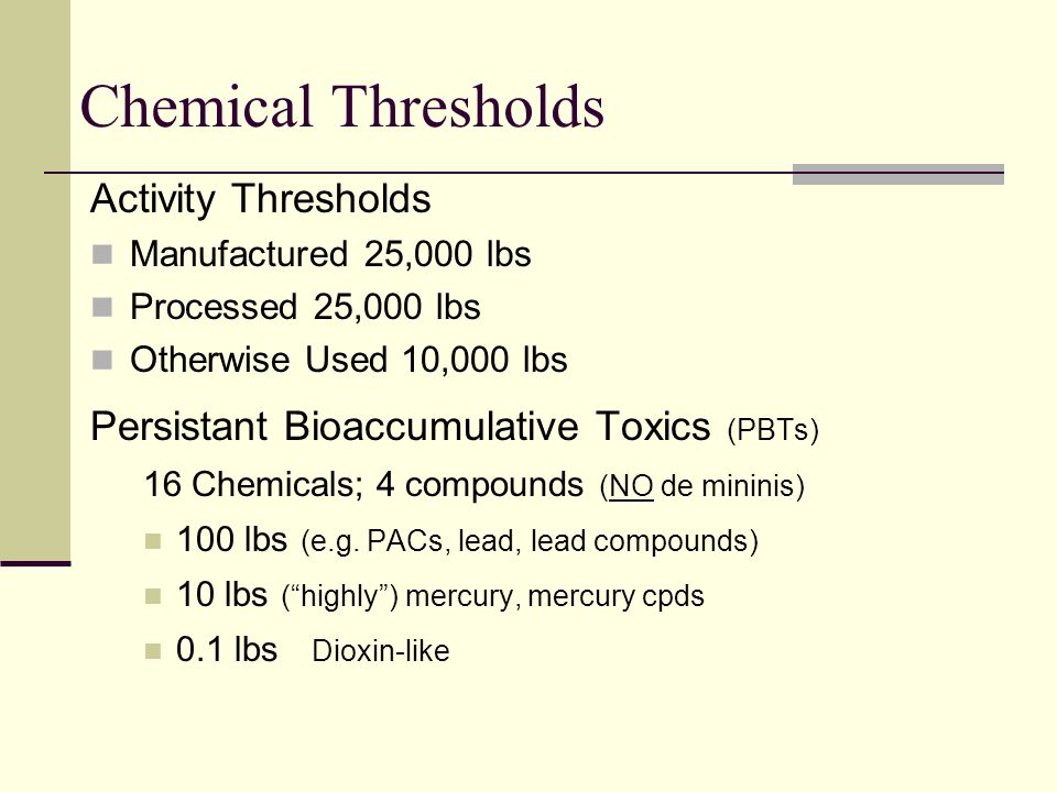 Chemical Thresholds Activity Thresholds