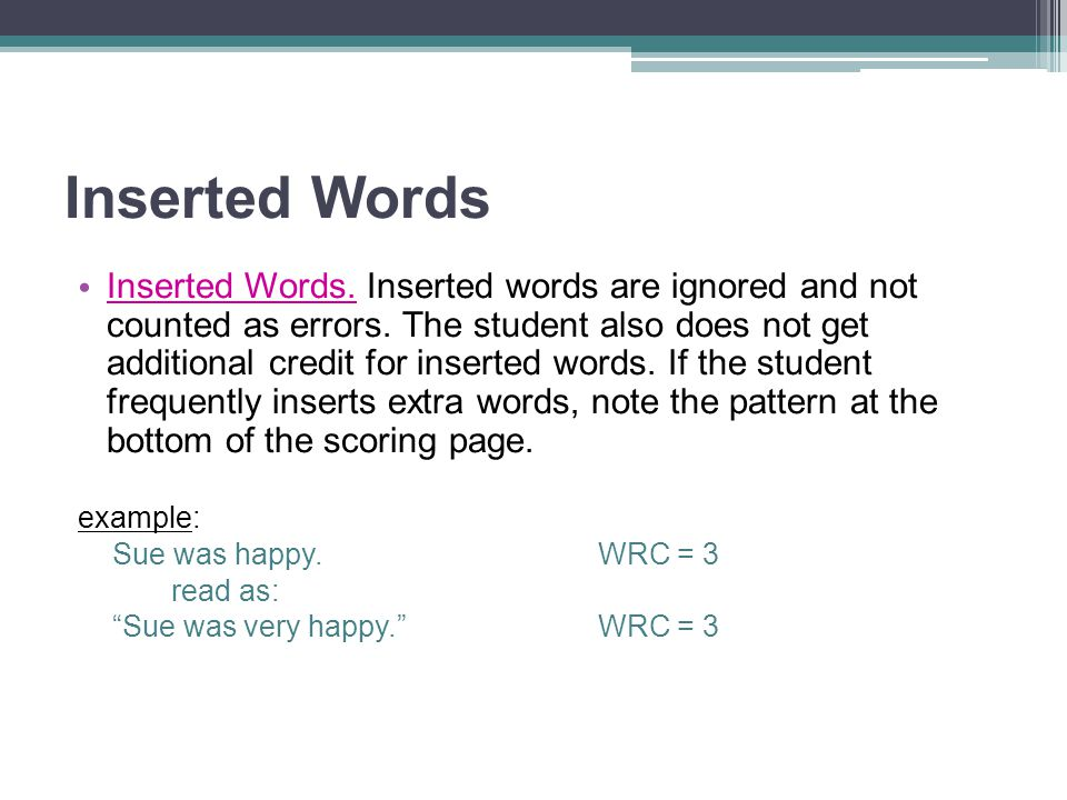 Inserted Words