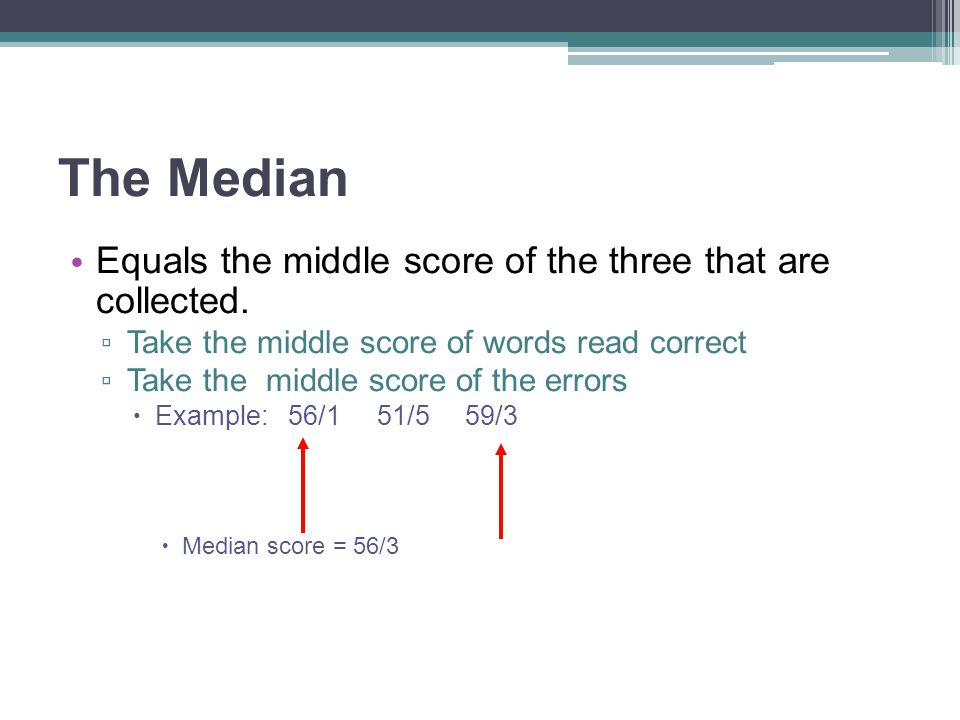 The Median Equals the middle score of the three that are collected.