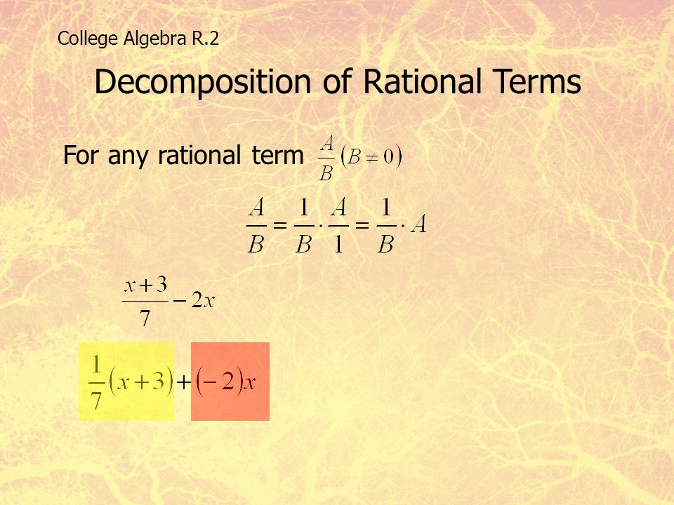 Decomposition of Rational Terms