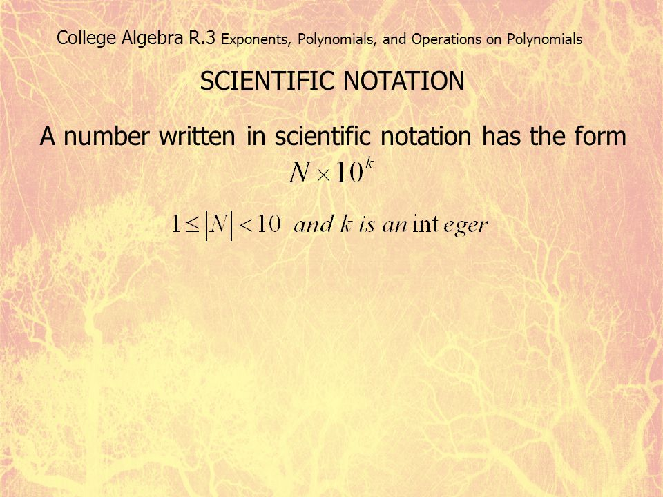A number written in scientific notation has the form