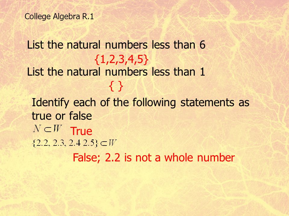 List the natural numbers less than 6