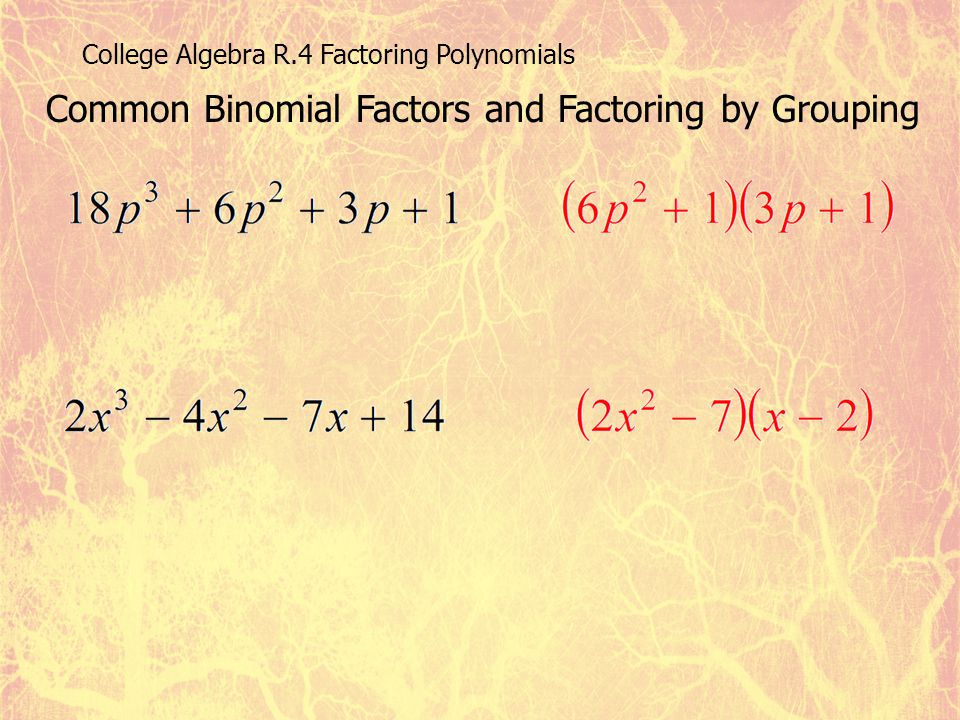 Common Binomial Factors and Factoring by Grouping