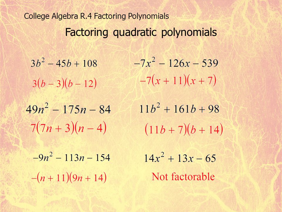 Factoring quadratic polynomials