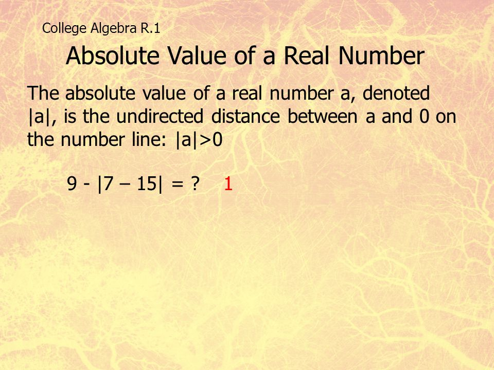 Absolute Value of a Real Number