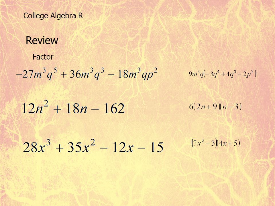 College Algebra R Review Factor