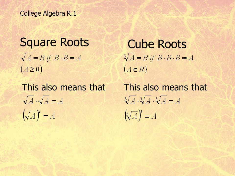 Square Roots Cube Roots This also means that This also means that