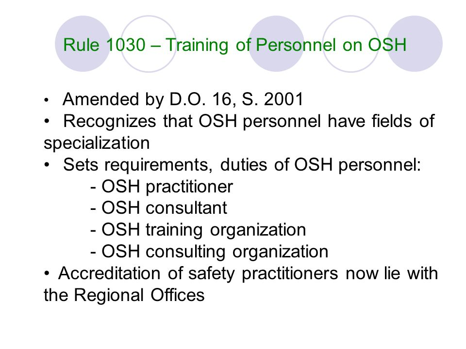 Rule 1030 – Training of Personnel on OSH