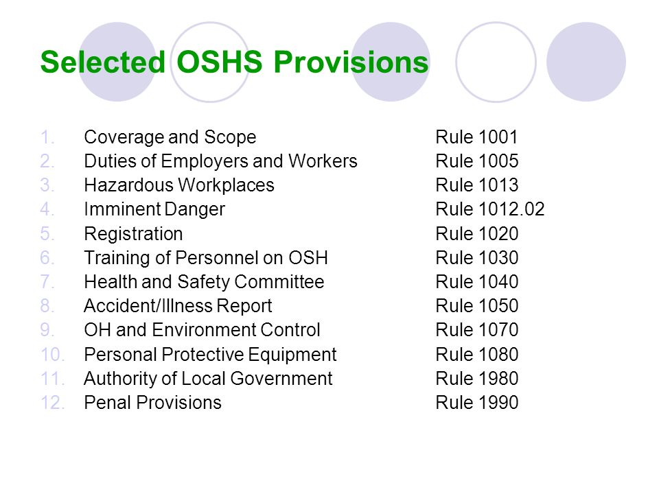 Selected OSHS Provisions