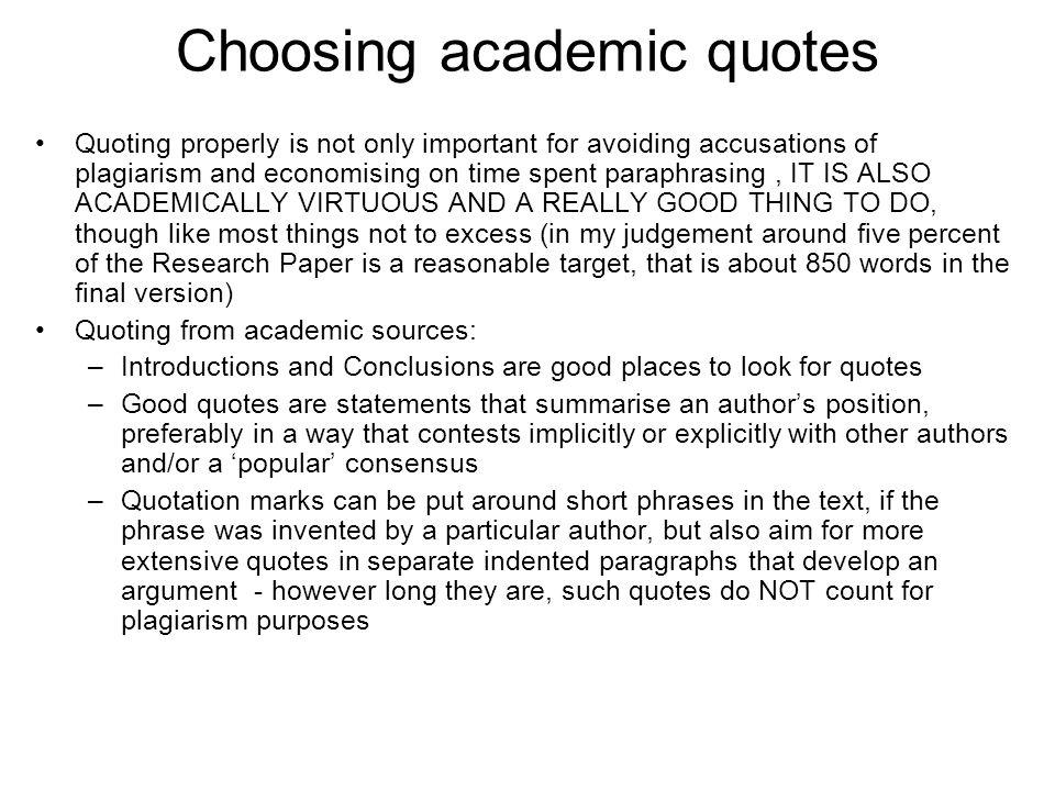 Choosing academic quotes