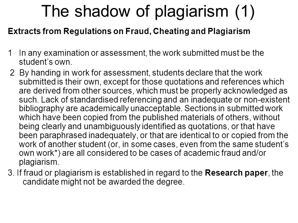 The shadow of plagiarism (1)