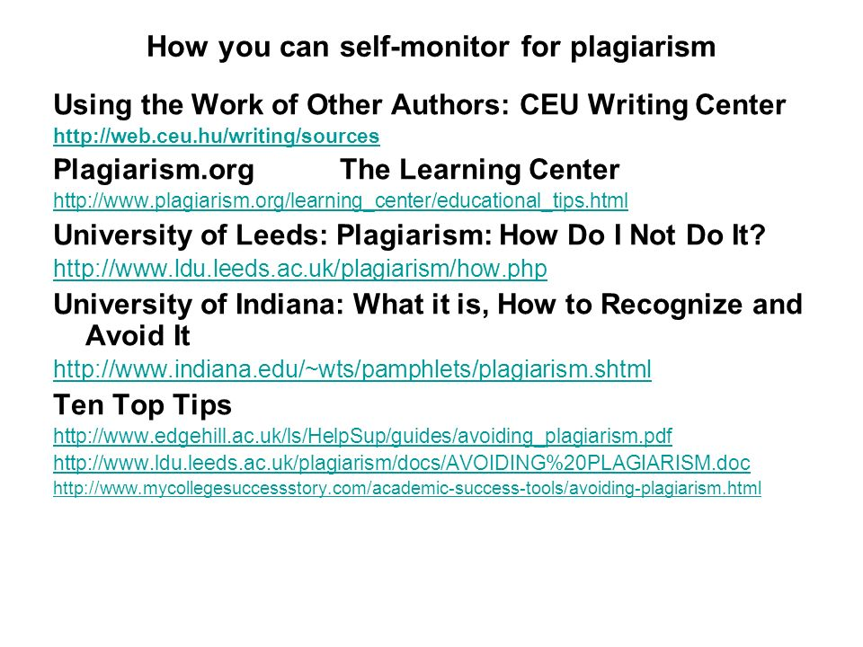 How you can self-monitor for plagiarism