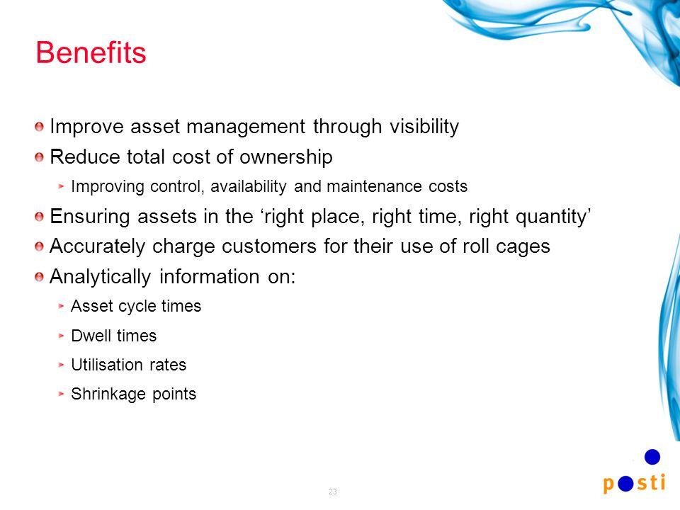 Benefits Improve asset management through visibility