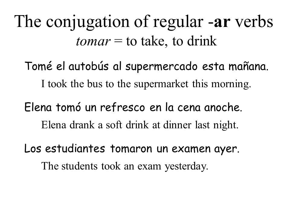 The conjugation of regular -ar verbs