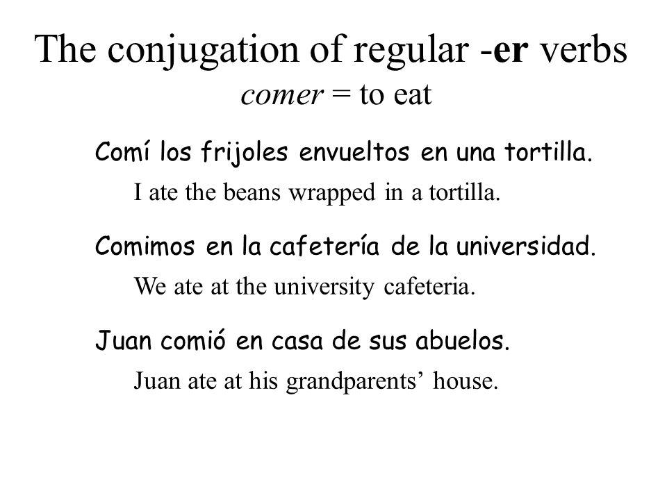 The conjugation of regular -er verbs