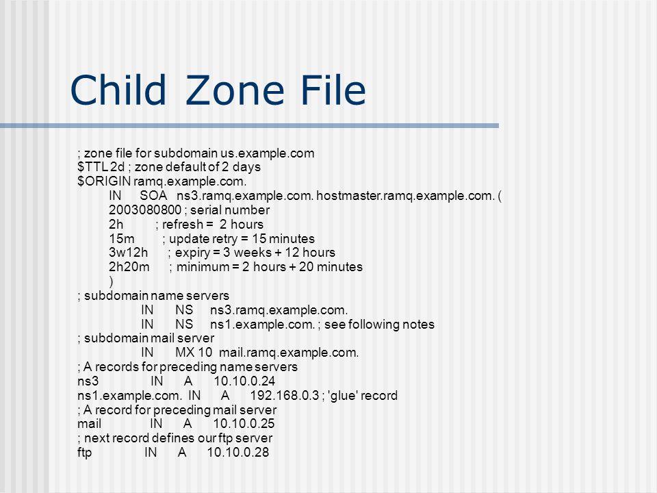 Child Zone File ; zone file for subdomain us.example.com