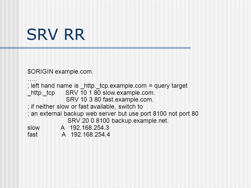 SRV RR $ORIGIN example.com. …..