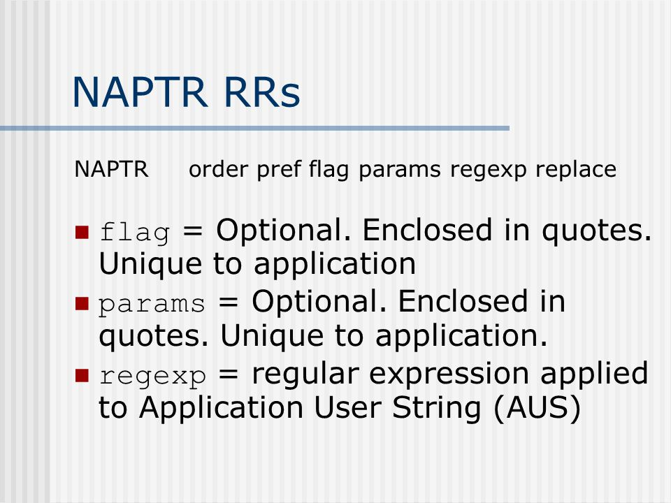 NAPTR RRs flag = Optional. Enclosed in quotes. Unique to application