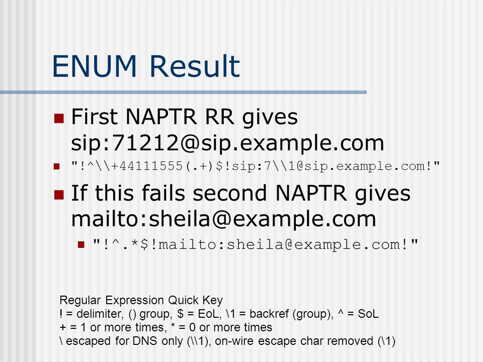 ENUM Result First NAPTR RR gives sip:71212@sip.example.com