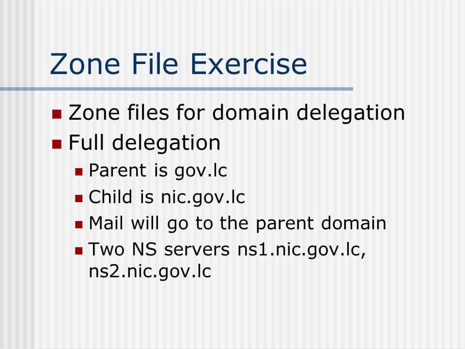 Zone File Exercise Zone files for domain delegation Full delegation