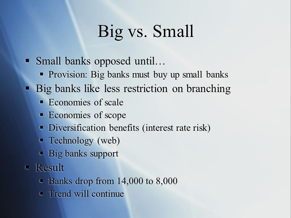 Big vs. Small Small banks opposed until…