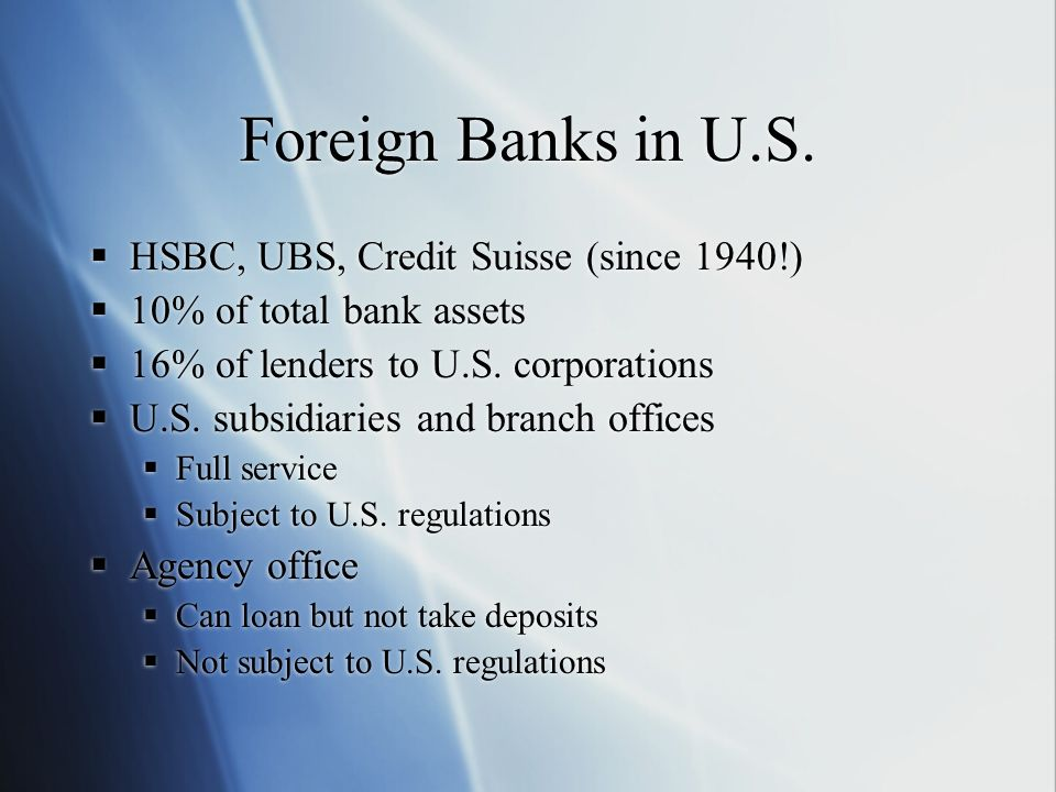 Foreign Banks in U.S. HSBC, UBS, Credit Suisse (since 1940!)