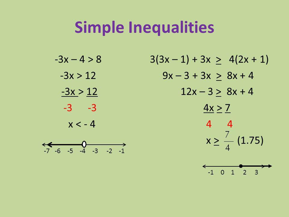 -3x – 4 > 8 -3x > 12 -3 -3 x < - 4