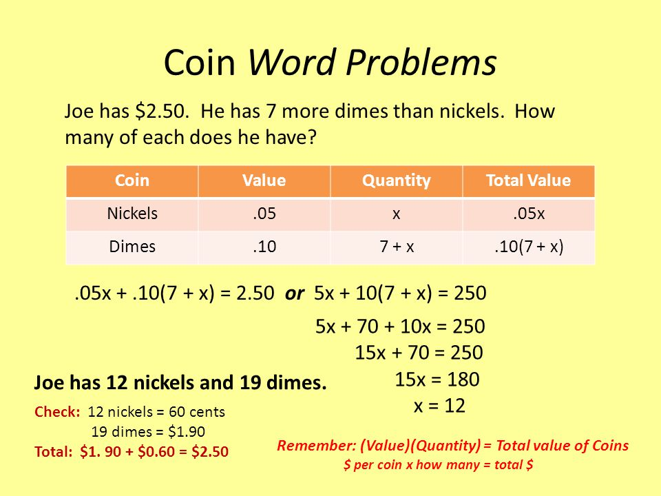 Coin Word Problems Joe has $2.50. He has 7 more dimes than nickels. How many of each does he have