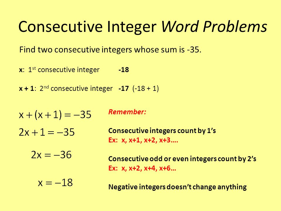 Consecutive Integer Word Problems