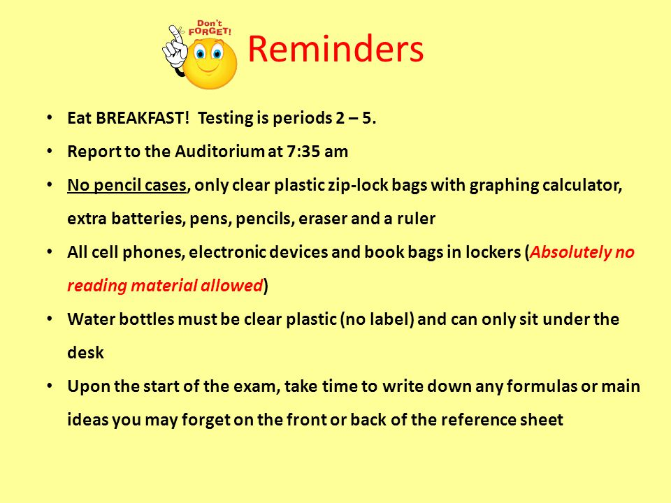 Reminders Eat BREAKFAST! Testing is periods 2 – 5.