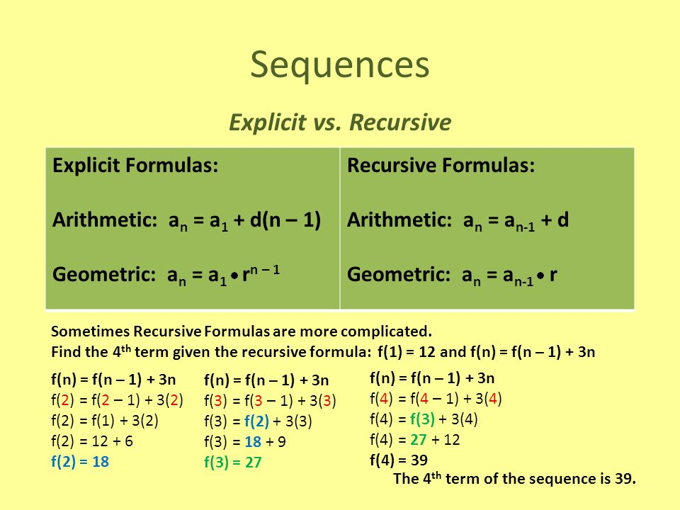 Sequences Explicit vs. Recursive Explicit Formulas: