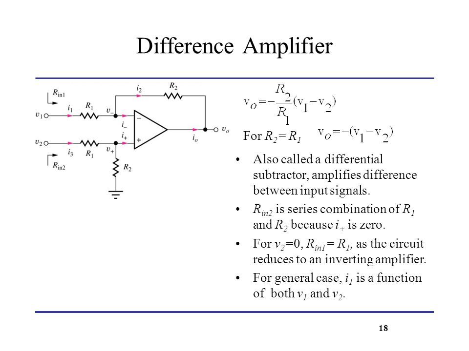 Difference Amplifier For R2= R1