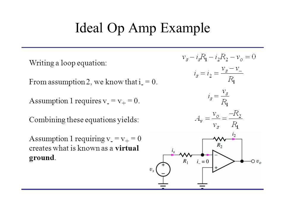 Ideal Op Amp Example Writing a loop equation: