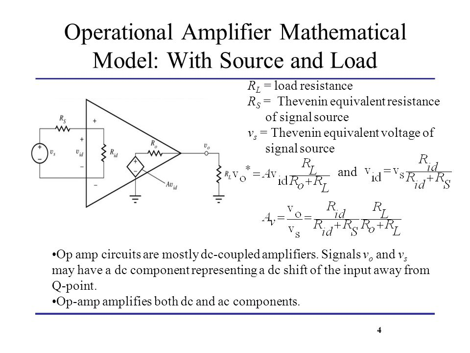 Operational Amplifier Mathematical Model: With Source and Load