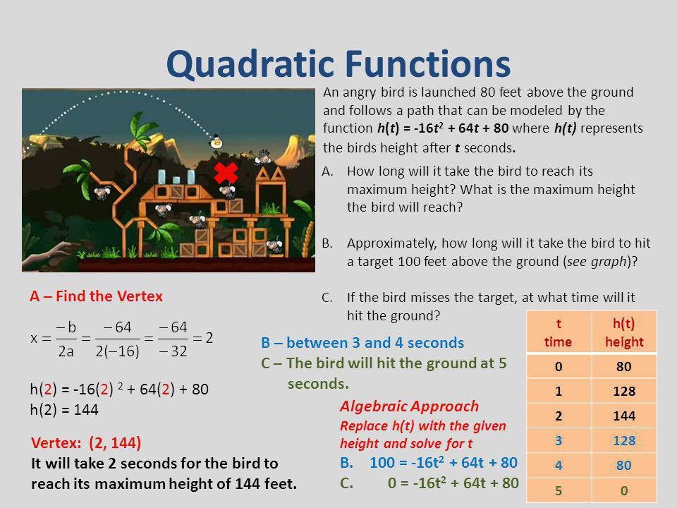Quadratic Functions A – Find the Vertex B – between 3 and 4 seconds