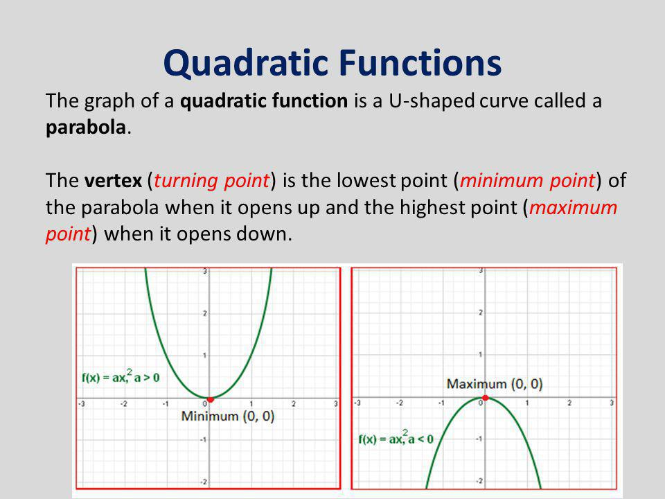 Quadratic Functions The graph of a quadratic function is a U-shaped curve called a parabola.