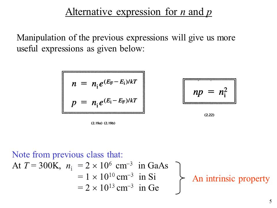 Alternative expression for n and p