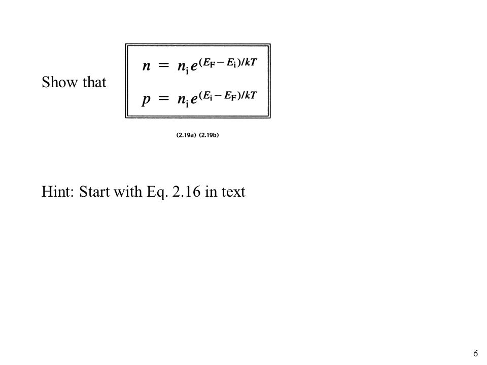 Show that Hint: Start with Eq in text