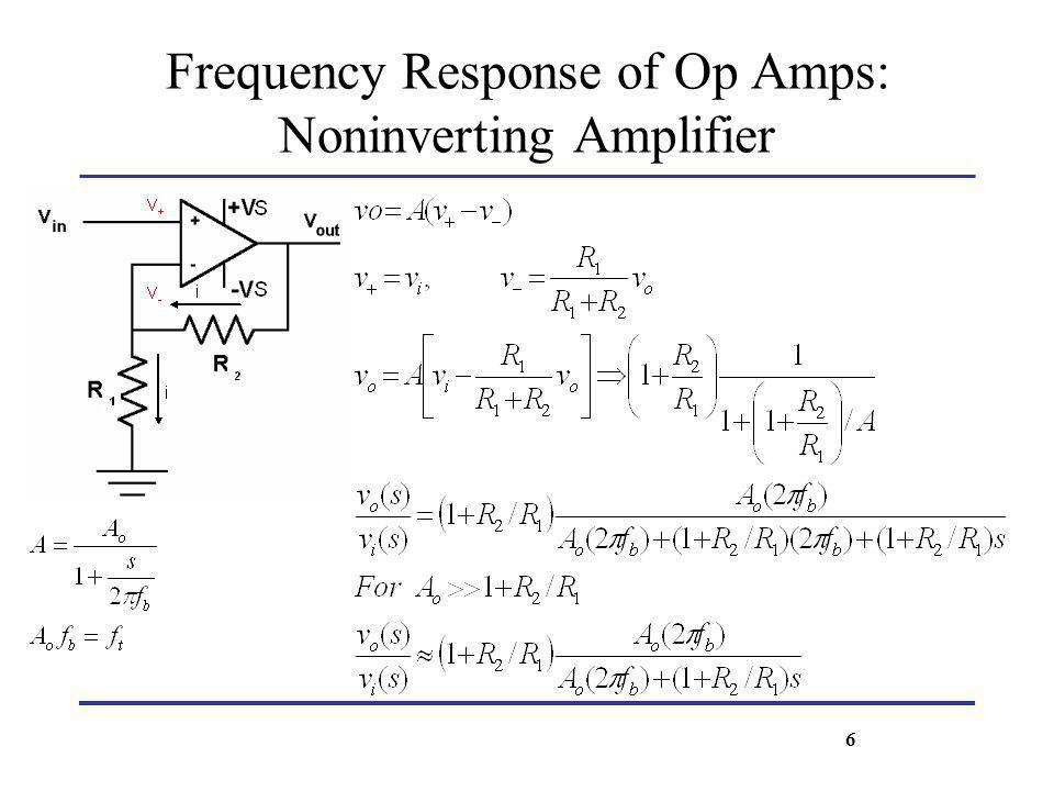 Frequency Response of Op Amps: Noninverting Amplifier