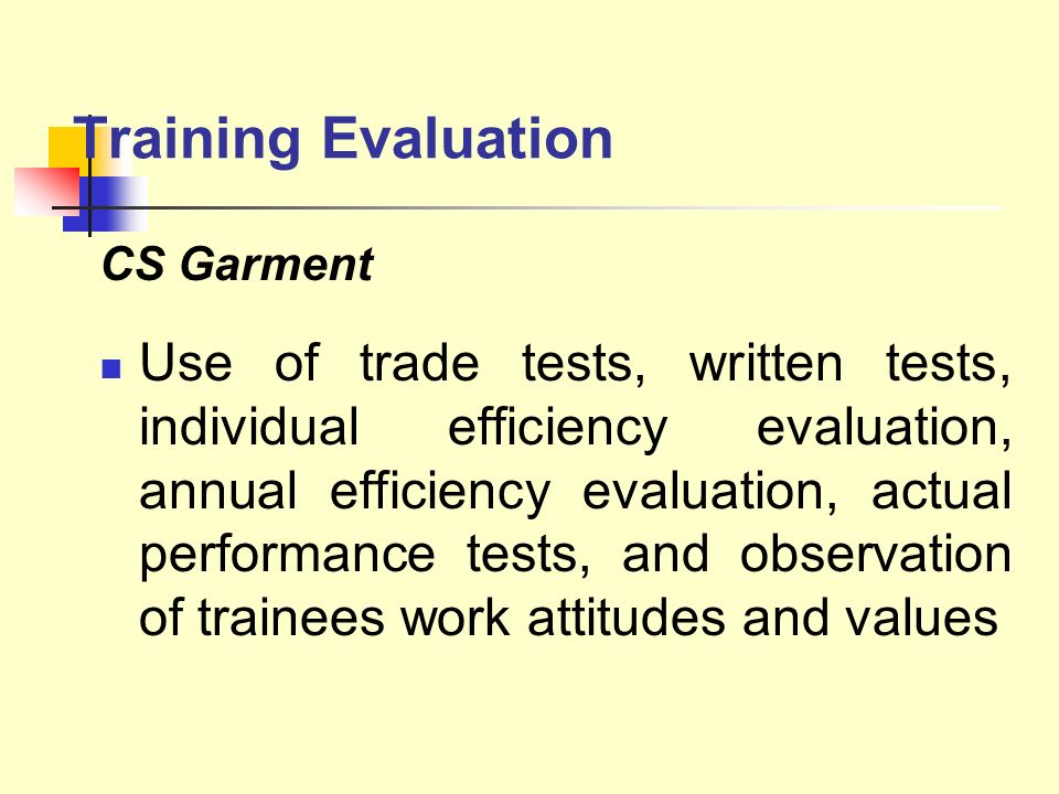 Training Evaluation CS Garment.