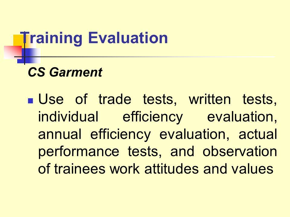 Training Evaluation CS Garment.