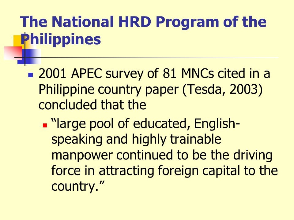 The National HRD Program of the Philippines