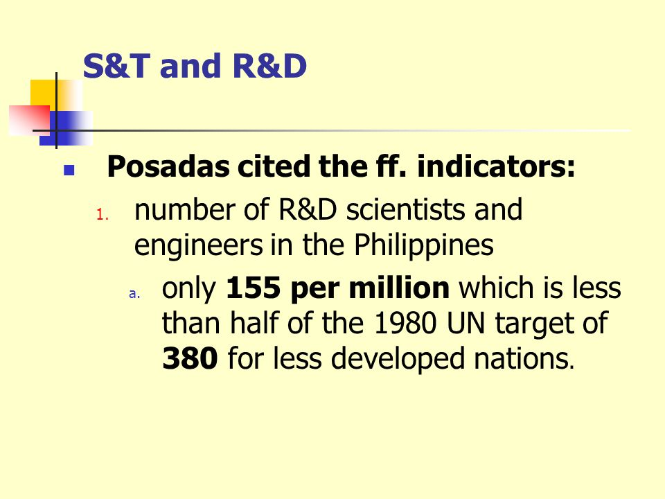 S&T and R&D Posadas cited the ff. indicators: