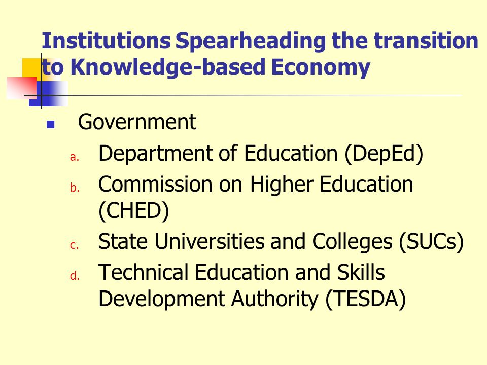 Institutions Spearheading the transition to Knowledge-based Economy