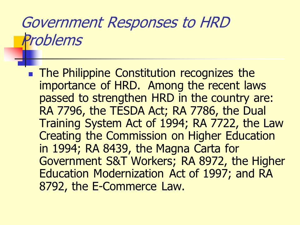 Government Responses to HRD Problems