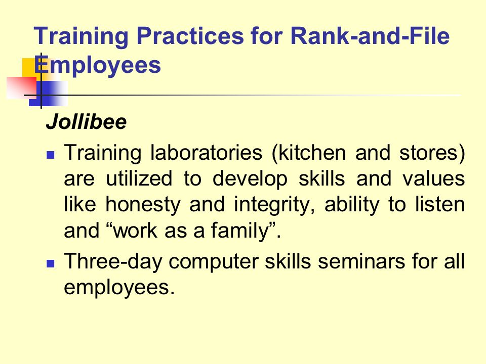Training Practices for Rank-and-File Employees