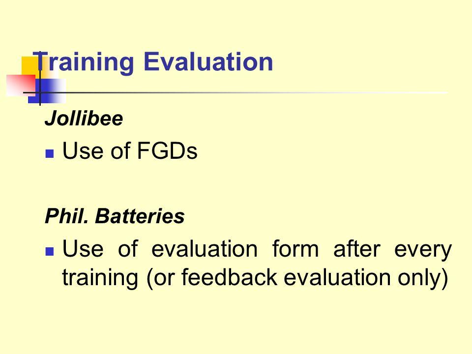 Training Evaluation Use of FGDs
