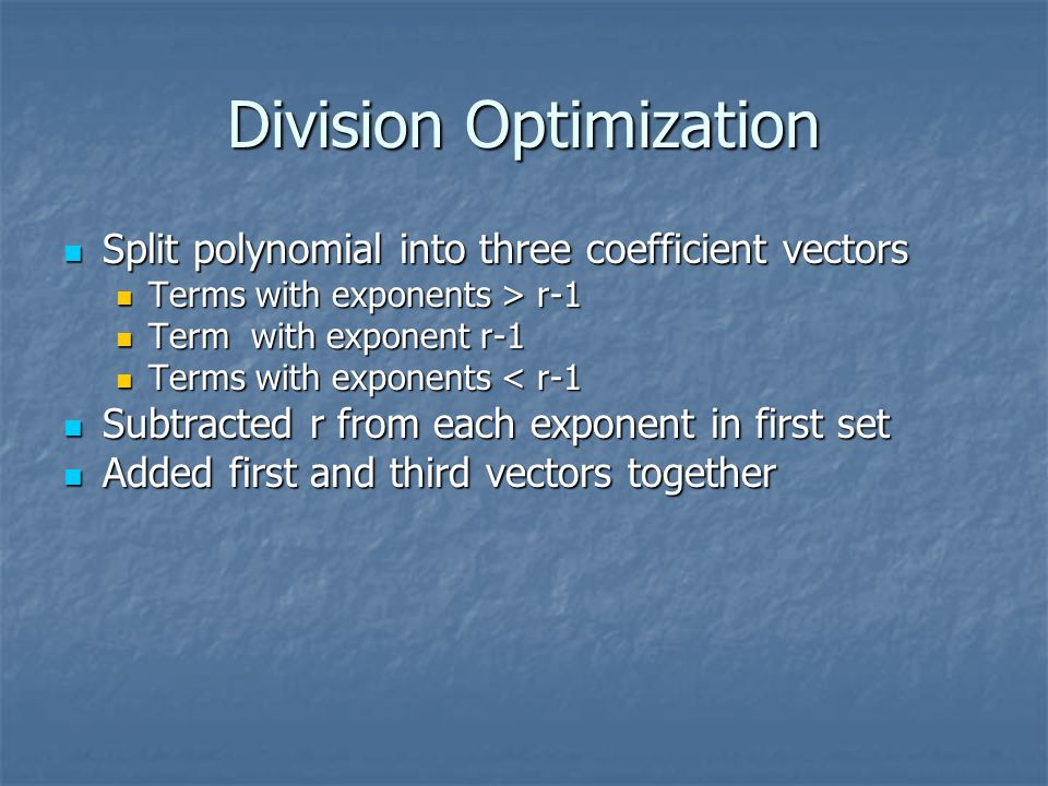 Division Optimization