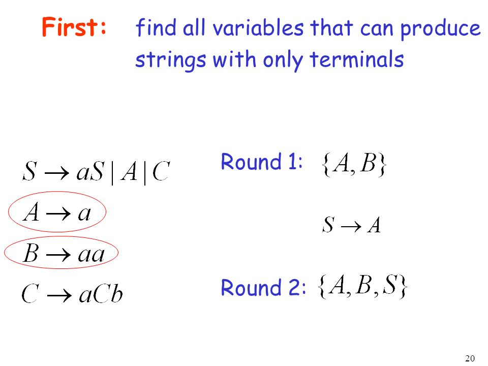 First: find all variables that can produce strings with only terminals